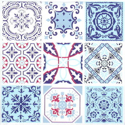 4x Moroccan Tiles Paper Napkins for Decoupage Decopatch Craft