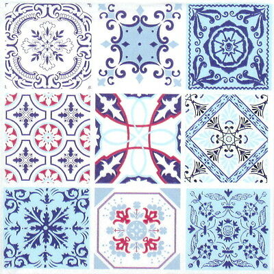 4x Single Table Party Paper Napkins for Decoupage Decopatch Craft Moroccan Tiles