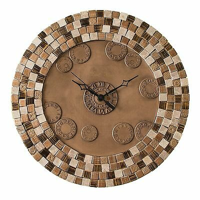 Metal Wall Clock with Porcelain Tiles. Silent non ticking. Bronze copper finish