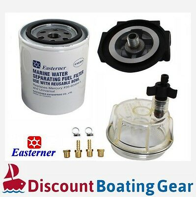 EASTERNER Marine Fuel Filter with Clear Bowl, Complete Kit for Outboard/Inboard