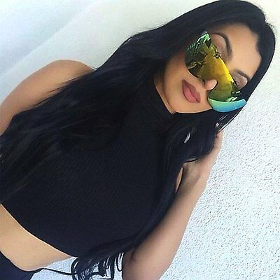 Flat Top Oversized Aviator Sunglasses Mirrored Lens Large Frame Women Fashion