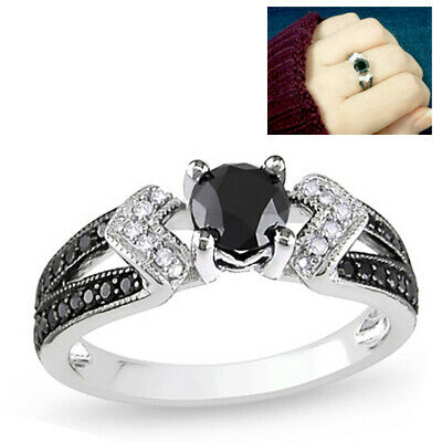 🔥 Sterling Silver Black & White Micro Pave Ring Bridal Engagement Wedding Band