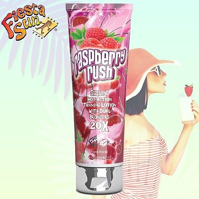 Raspberry Rush Hot Tingle Dual Bronzer Sunbed Tanning Accelerator Lotion +GIFT