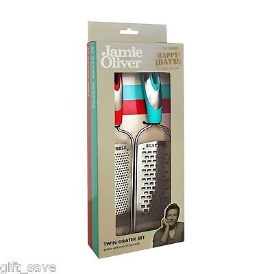Jamie Oliver Grater Set Stainless Steel Hand Held Fine & Coarse Gift Box Blue Re