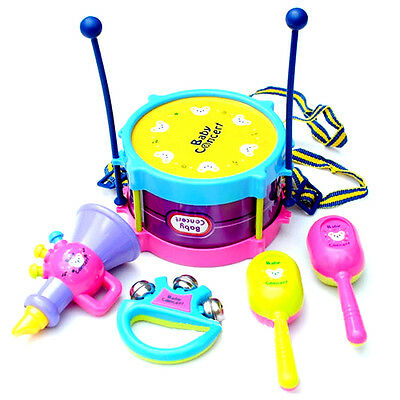 New Kids Children 5pcs Roll Drum Band Kit Set Musical Instruments Toy Gift