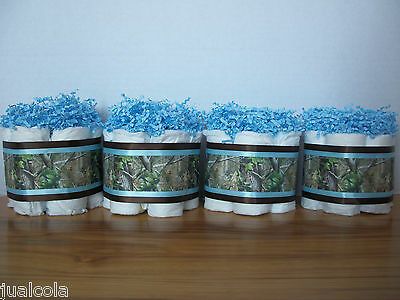 4 Camo Hunting Mini Diaper Cakes Boy Baby Shower Decoration Brown Blue