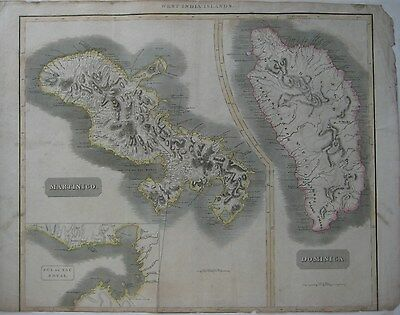 Original 1817 Thomson Map DOMINICA MARTINIQUE Fort Royal West Indies Islands