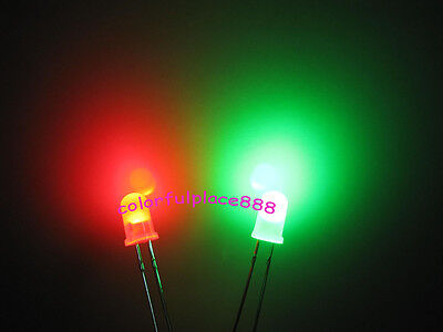 10 x 3mm Diffused Red Blue Bi-Colour LED x 20 x 50 RB Bi Indicator LEDS *UK *
