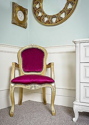 French Louis Armchair Gold Red Velvet Shabby Chic Bed Room Antique Style Bedroom