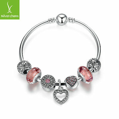 Romantic 925 Silver Love Heart Charms Bangle With Glass Bead Pave CZ Fit Chain