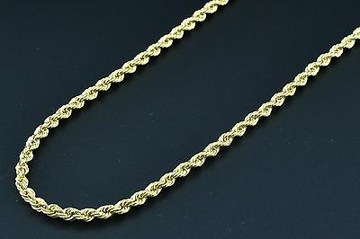 Men's Women's 14K Yellow Gold Necklace Rope Chain 2MM 16-22 Inches