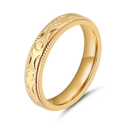 316L Stainless Steel Gold Solid 4MM Wedding Engagement Rings Band Size 7 8 9 10