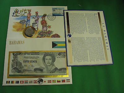 Bahamas  Banknote UNC & Stamp First day Cover Mint Presentation Set French