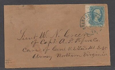 "**CSA Cover SC# 9 Charlottesville, VA, 5/30/1863 ""Ten"" Cents Lt. Green Army Mail"