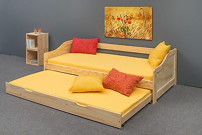 "Lit gigogne ""LUCCA"" 2 couchages, pin massif, vernis naturel"