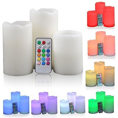 WAX Flameless Set of 3 Battery Operated LED Colour Changing Candles Vanilla