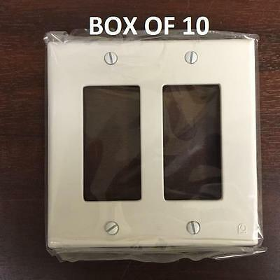 Box/10  DUAL WALL SWITCH PLATES - White #PC 8011A - NEW - ProtectConnect brand