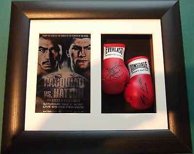 Manny Pacquiao vs Ricky Hatton Mini Preprinted Signed Boxing Gloves