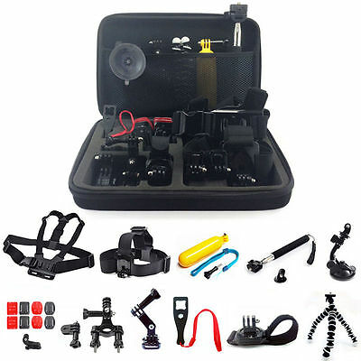 12-1 Monopod Pole Floating Head Chest Mount Accessories set 4 GoPro 2 3 4 Camera