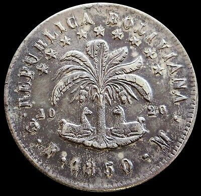 1850 Pts Fm Silver Bolivia 8 Soles Coin Au / Unc Condition Potosi Mint