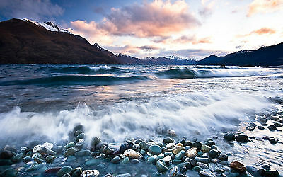 Framed Print - Ocean Waves Crashing on a Pebble Beach (Picture Poster Sea Art)