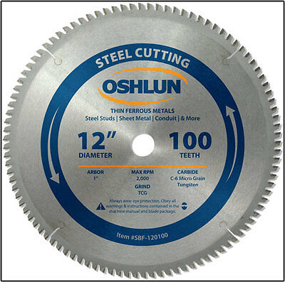 "OSHLUN 12"" x 100T Steel Cutting Saw Blade - SBF-120100"