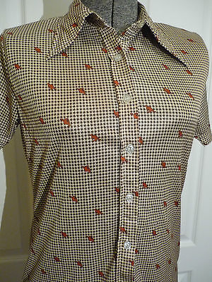 Vintage Houndstooth Blouse ~ Kangaroo Print ~ Pointed Collar ~ Short Sleeves ~ L