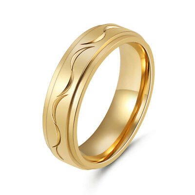 18K Gold Plated Filled Stainless Steel Wedding Engagement Band Rings Size 8 9 10