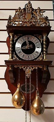 Large Dutch Wall Clock In Excellent Working Condition