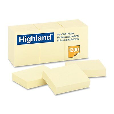 Highland Self Stick Notes 1 3/8 Inch X 1 7/8 Inch Yellow Sheets Per Pad 12