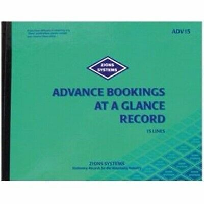 Zions 15 Line Advance Bookings at a Glance Record Book 230 x 290mm ADV15*