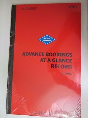 Zions 30 Line Advance Bookings at a Glance Record Book 450 x 290mm ADV30