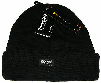 d81bd7c3cd5 Mens Knitted Black Acrylic Beanie Hat With Thermal Thinsulate Insulation -  New