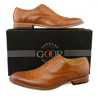 New Mens Boys Tan Leather Lined Smart Office Suit Lace Up Brogues Shoes 3 - 12
