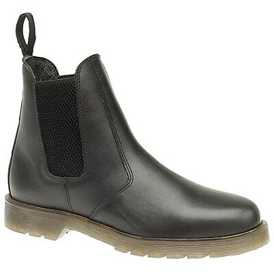 Mens Gents New Grafters Black Leather Chelsea Dealer Boots With Air Soles 6 - 12