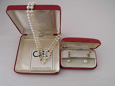 Ciro 2 Row Cultured Pearl Necklace Spring Back Earrings 9Ct Clasp 1970's, Boxes