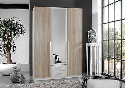 Qmax 'Skate' 3-Door Wardrobe. German Made Bedroom Furniture. Washed Oak & White