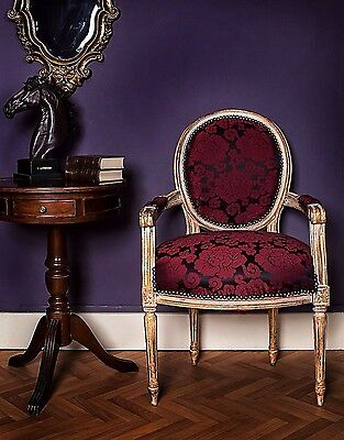 French Louis Armchair Gold Purple Vintage Floral Shabby Chic Antique Bedroom