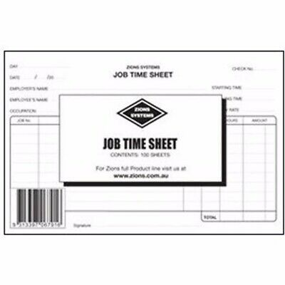Zions Job Time Sheets 100/Sheets 125 x 190mm JTS1^