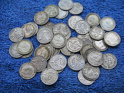 20 BRITISH SILVER THREE PENCE PIECES 3d's KING GEORGE V & KING GEORGE VI L@@K!!!