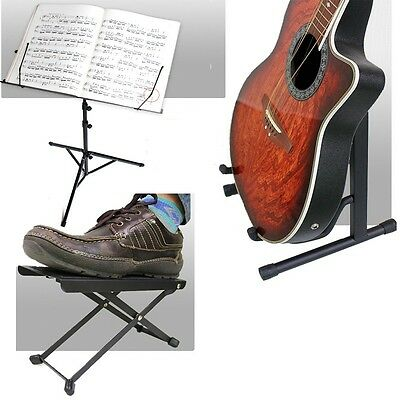 Folding Portable Guitar Music Stand Hanger Footrest Set Acoustic Support Mount