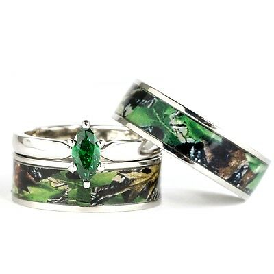 His & Hers Camo Green Marquis Stainless Steel & Sterling Silver Wedding Ring Set