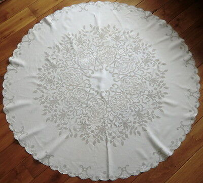 Exquisite hand embroidered Appenzell oval/round Tablecloth