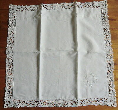 White linen square Pillow Sham with large Appenzell hand embroidered Monogram