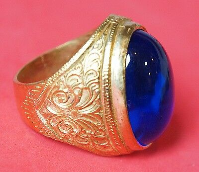 Thai Amulets Ring Blue Magic Rich Succes Love Charm Weath Protection Worship