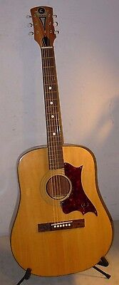 Vintage 1968 Kay Dreadnought Flat Top Acoustic Guitar With Case & Hang Tag USA