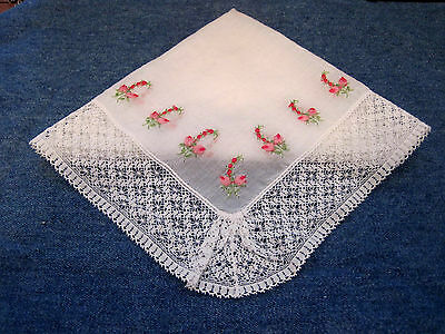 Vintage Embroidered Red & Pink Roses Handkerchief Hankie W/Beautiful Lace Trim