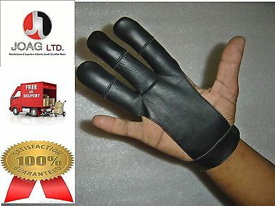 Archers - Leather Shooting 3 Fingers Glove Black Colour Hunting Shooting Gloves
