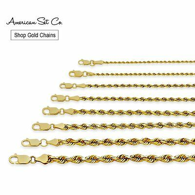Solid Genuine 14K Yellow Gold Rope Chain Necklace Pendant