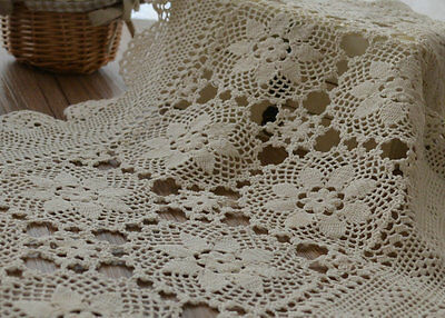 "Vintage Hand Crochet Lace Table Runner French Country Ecru Cotton 32"" Oblong"